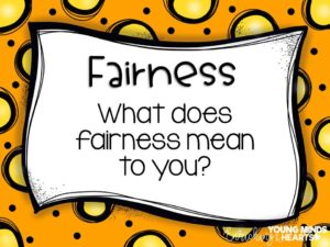 An image asking students what they think the character trait of fairness means