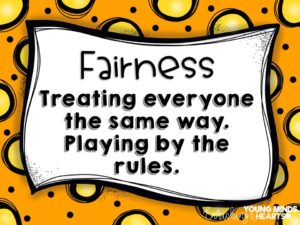 An image showing students the definition of what the character trait of fairness actually means