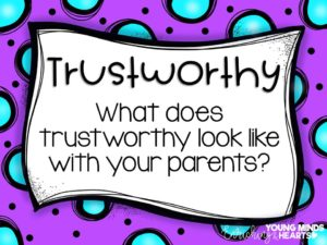An image asking students what the character trait of trustworthiness looks like with their parents