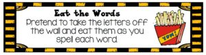 A template that shows students how to act like they are eating the letters in the word when they are practicing spelling words