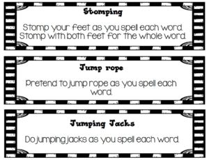 A template that shows students how to act like they doing exercises when they are practicing spelling words