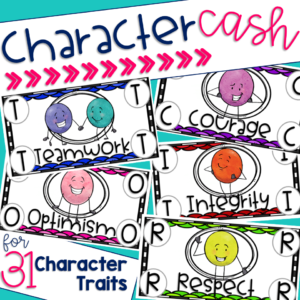 A picture of the cover of the character cash resource that shows what the character traits of teamwork, courage, optimism, integrity and respect look like