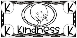 A black and white image of character cash for kindness